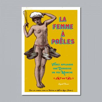 Carte Postale FEMME À POÊLES