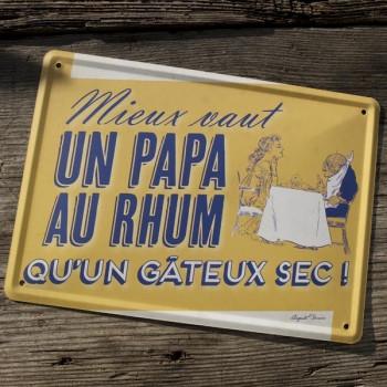 Carte métal PAPA AU RHUM